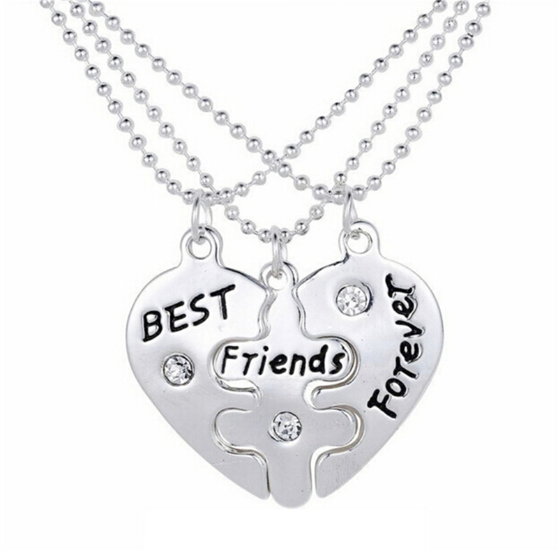 3 in1 Heart Stainless Steel Statement Necklaces Women's and Men's Top Quality Best Friends Forever Necklace