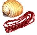 Precio de fábrica de doble uso 160 cm 6mm China rojo de bambú natural del mar de coral collar de la joyería de la manera envío gratis
