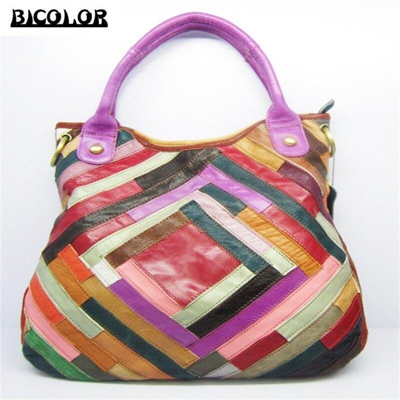 ФОТО BICOLOR Bag 2016 Popular Handbag Women Messenger Bags Handbags Women Famous Brands Genuine Leather Shoulder Bag Handmade Unique