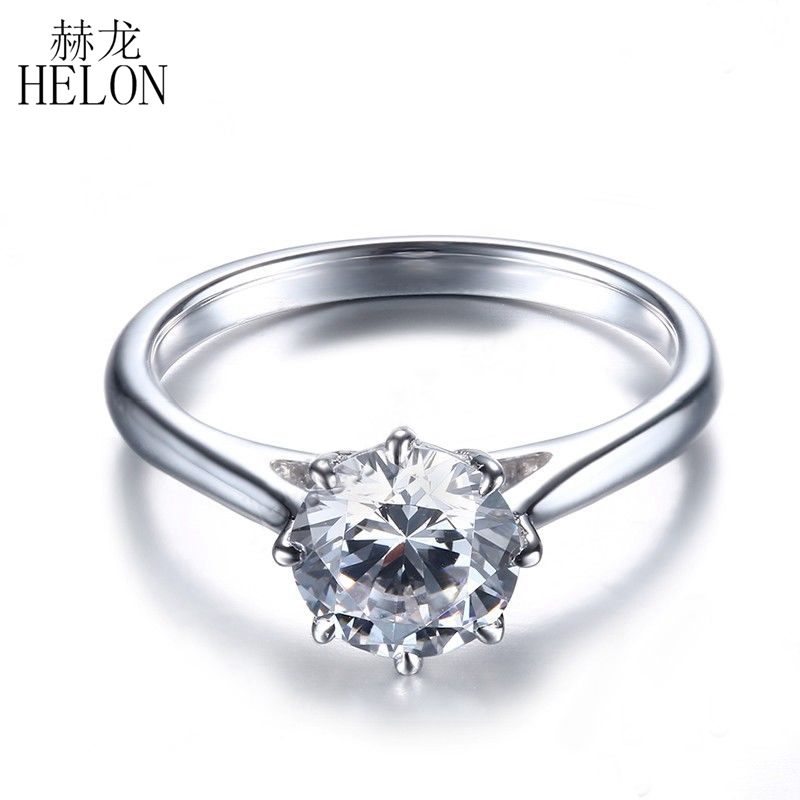 HELON Solid 18k White Gold 1.2 carat Diameter 7mm DF Color moissanite Engagement Wedding Ring For Women Solitaire Trendy Jewelry transgems 1 carat lab grown moissanite diamond solitaire wedding band for man brilliant solid 18k two tone gold gentle dcc031