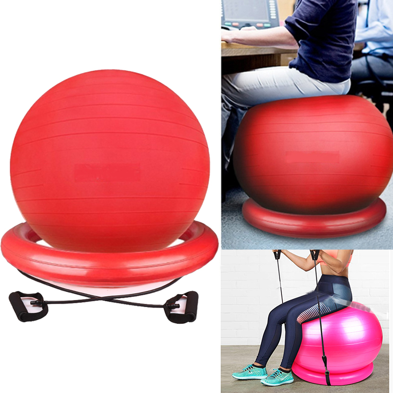New Large Yoga Balls With Resistance Bands Bands 85CM Sports Pilates Fitness Ball Balance Fitball Exercise Workout Massage Ball