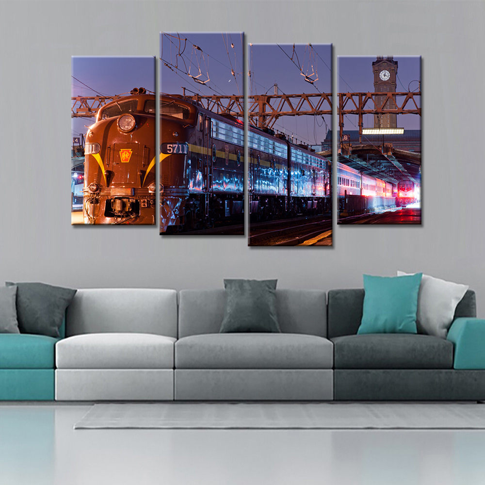 online get cheap simple famous paintings aliexpress com alibaba 4 pieces drop shipping a train with a famous building wall art painting print on canvas car pictures for home decor
