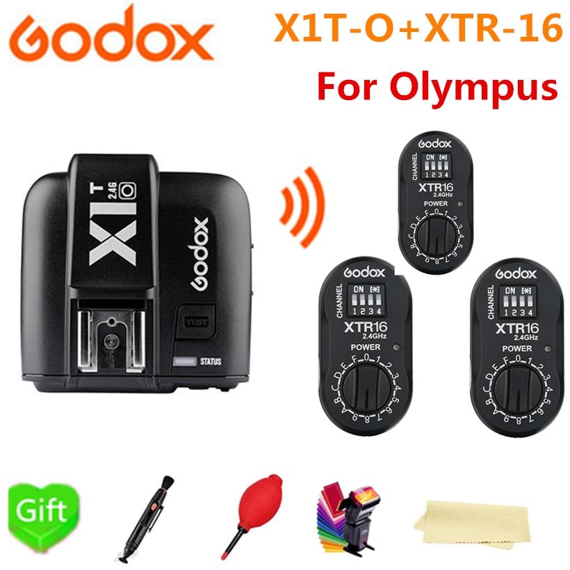 Godox X1T-O Transmitter TTL HSS Wireless Flash Trigger + 3* XTR-16 Receiver for Olympus Panasonic Cameras AD180 AD360 AD360II godox x1t s ttl hss 2 4g flash transmitter 2 xtr 16 usb receiver kit for sony camera godox ad180 ad360 ad360ii