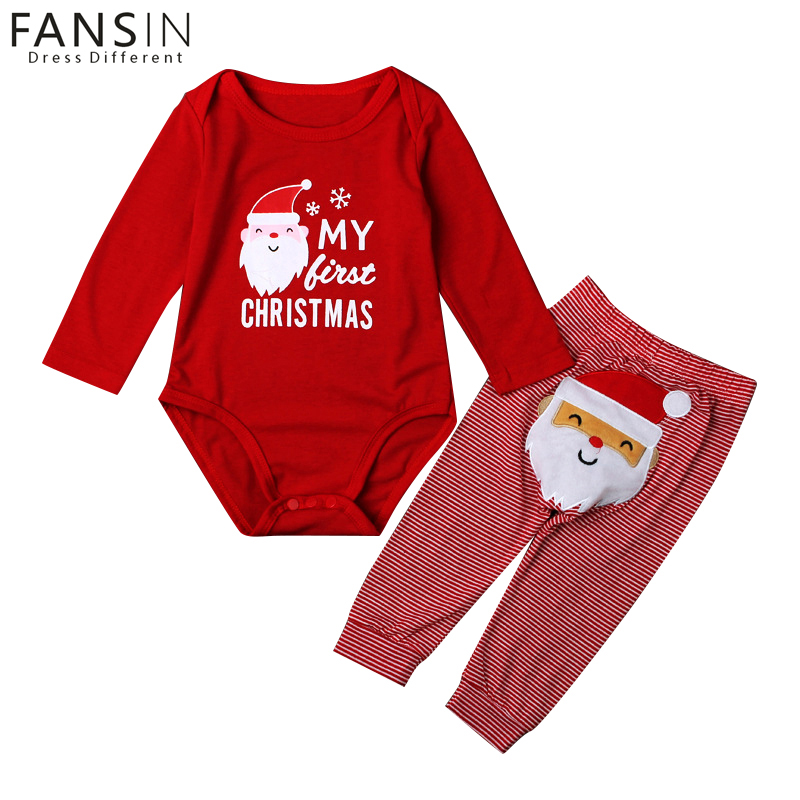 FANSIN Brand Newborn Baby Girls Clothes Set Printed Santa Claus My First Christmas Romper+Stripe Pants 2Pcs Outfit Xmas Clothing fashion 2pcs set newborn baby girls jumpsuit toddler girls flower pattern outfit clothes romper bodysuit pants