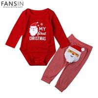 FANSIN Brand Newborn Baby Girls Clothes Set Printed Santa Claus My First Christmas Romper Stripe Pants