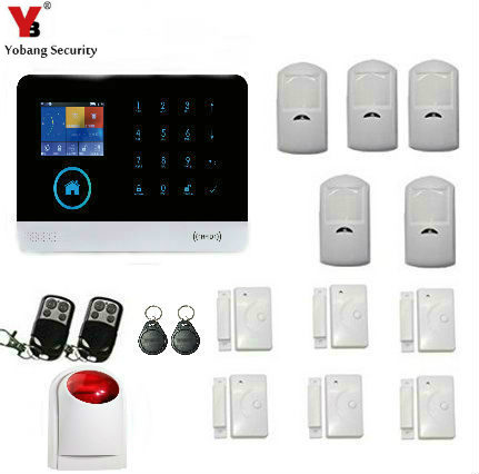 Yobang Security Voice WIFI GSM SIM Home Security Burglar Alarm System RFID LCD Touch Wireless SMS Call App Alert Android IOS smartyiba touch keypad wifi gsm sms rfid android ios app wireless home burglar alarm system ip camera wireless strobe siren