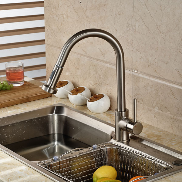 Contemporary Brushed Nickel Kitchen Sink Faucet Deck Mount Pull Out Dual Sprayer Nozzle Hot Cold Mixer Water Taps
