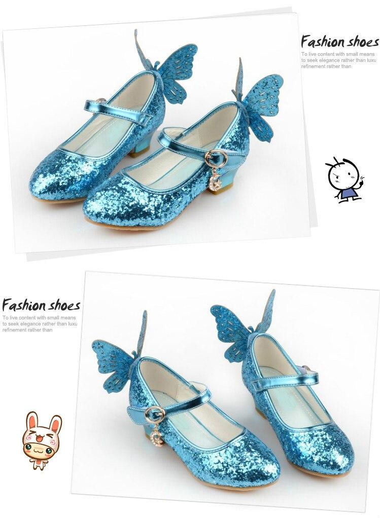 US $16.9 11% OFF|Gefrorene Elsa prinzessin schuhe frühjahr und herbst modelle rosa blau kinder schuhe elsa Elsa mädchen high heels 26 38 in Gefrorene