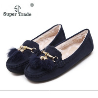 ST SUPER TRADE Casual Women Shoes Winter Section Plus Velvet Flats Female Moccasin Shoes Women S