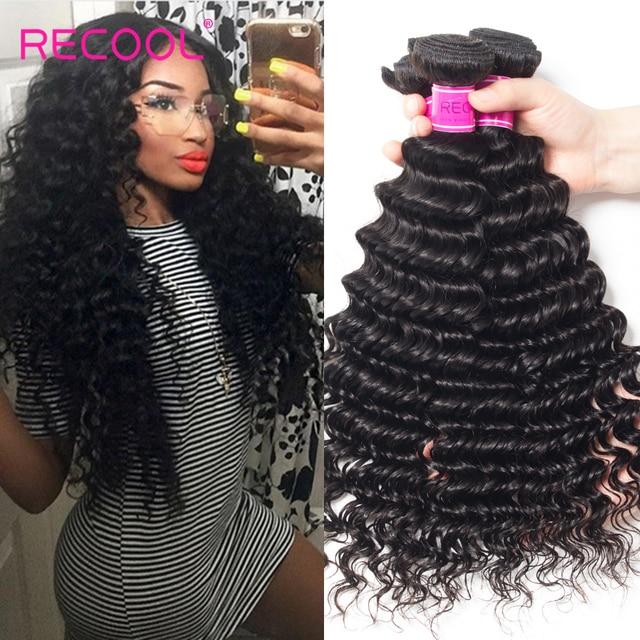 Recool Hair Products Malaysian Deep Wave 3 Bundles Virgin 8a