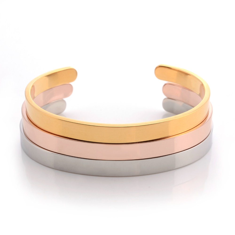 Simple Cute Fashion Romantic Charms Bangles Rose Gold 3 Colors Stainless Steel High Quality Jewelry For a Gift Women BG010 in Bangles from Jewelry Accessories