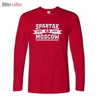 BITTER COFFEE NWE High Quality Spartak Moscow T Shirt Russian Premier League Camiseta Long Sleeve T
