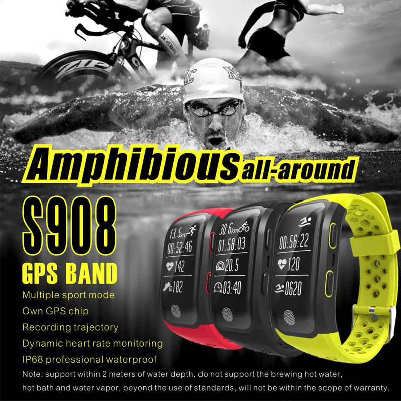 2017 Newest S908 Smart Band GPS Bluetooth 4.2 Heart Rate IP68 Waterproof Sleep Monitor Pedometer Smart Bracelet For Android IOS new arrival custom shop dave grohl electric guitar semi hollow body es 335 jazz guitar hollow electric guitar dg 335 veison