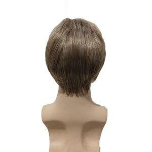 Image 2 - WoodFestival 男性耐熱合成かつらブラウンストレートメンズ男ウィッグコスプレショートヘア