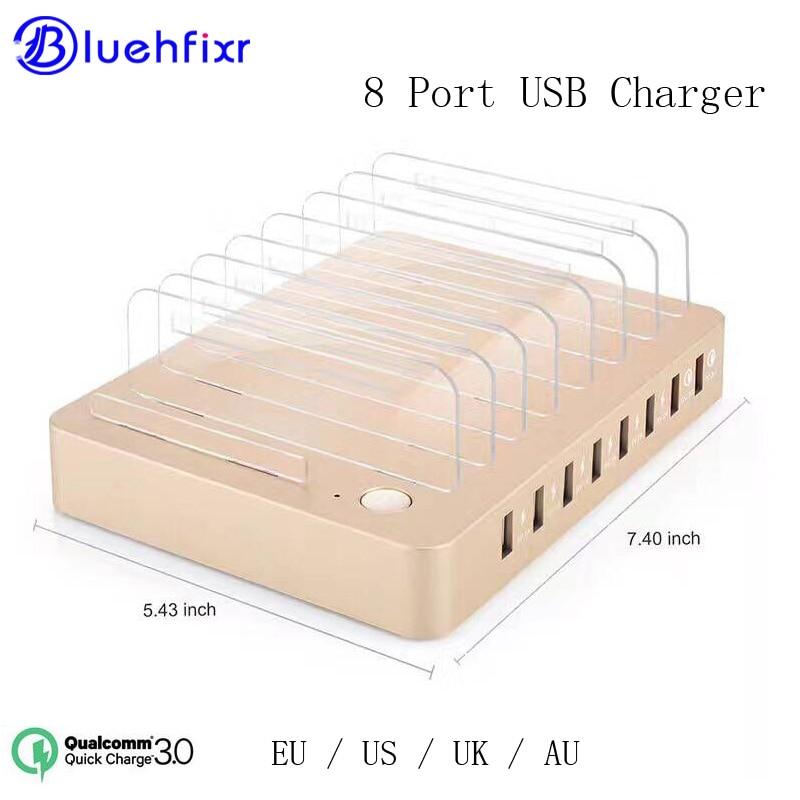 8 Ports Rapide 3.0 Charge USB Chargeur De Bureau Station De Recharge avec 2 ports Rapide 3.0 96 W