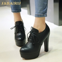 SARAIRIS 2018 Plus Size 31 47 High Heel Shoes Pumps Woman Black Round Toe Platform Lace Up Pumps Leisure Shoes Women