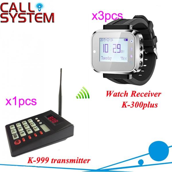 Cocina sistema de llamada incluyendo 1 unids del transmisor y 3 unids reloj de pulsera Pager