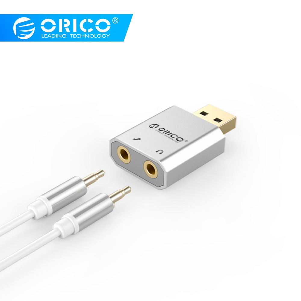 ORICO External USB Sound Card Stereo Mic Speaker Headset Audio Jack 3.5mm Cable Adapter Mute Switch Volume Adjustment Free DriveORICO External USB Sound Card Stereo Mic Speaker Headset Audio Jack 3.5mm Cable Adapter Mute Switch Volume Adjustment Free Drive