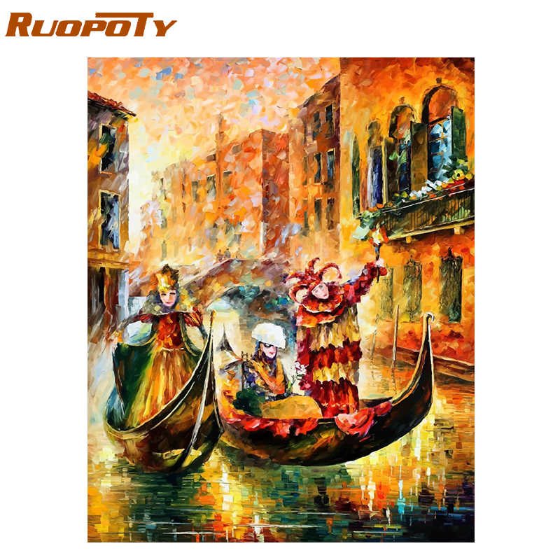 RUOPOTY Frame Abstract Boat DIY Painting By Numbers Modern Wall Art Picture Landscape Oil Painting For Home Decor Artwork Gift