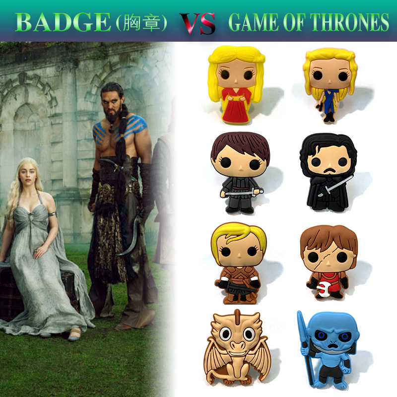 1Pcs Cartoon Game of Thrones PVC Brooches Pin Buttons Badges Kids Gift Bags/Clothes/Caps Accessories Round Brooch Badge