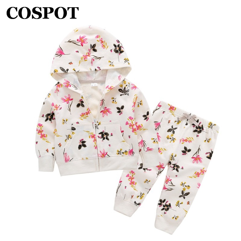 COSPOT 2019 New Arrival Baby Girls Hoodies Set Spring Cotton Hooded Floral 2Pcs Sets Hoodies+Pants Kids Girls Clothing Set 20E