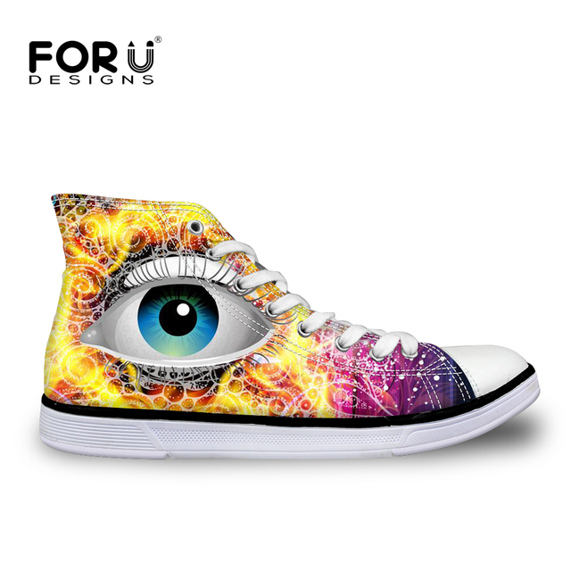d90a4376ca5c FORUDESIGNS Pretty 3D Eyes Pattern Women High Top Vulcanize Shoe Breathable Casual  Canvas Shoes for Female