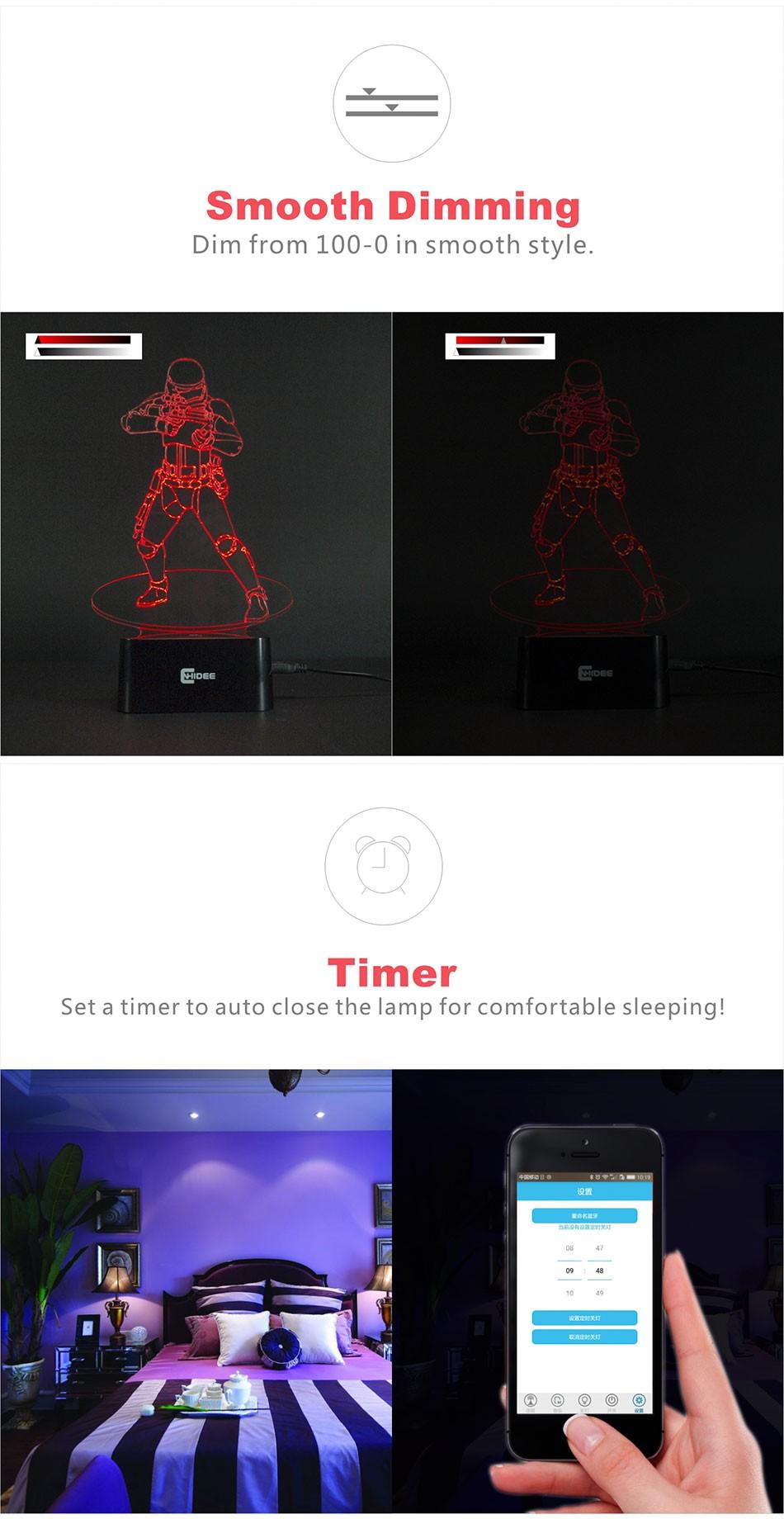 CNHIDEE USB Novelty Star Wars Bluetooth Music Desk Lampara 3D Stormtrooper Bulbing Led Luz de Noche Engraving Night Light Decor as Creative Gifs  (6)