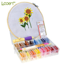 Looen Embroidery Punch Pen Needle Set with Patterns 32pcs Threads Scissors Sewing Accessories For Women Starter Kit