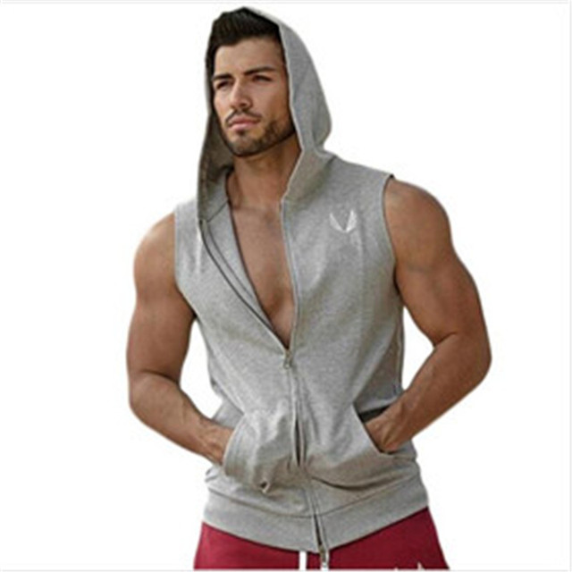 Men Cotton Hoodie Sweatshirts fitness clothes bodybuilding men Sleeveless fitness Tees Shirt Casual golds vest
