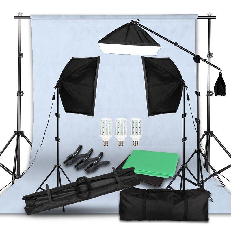 Kit de Support de Support de fond, écran vert Non tissé, Kit d'éclairage de fond de 20 watts, Support de Boom lumineux à cheveux LED, Kit d'éclairage vidéo pour Studio