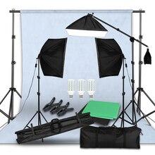 사진 스튜디오 LED Softbox 조명 키트 붐 팔 배경 지원 스탠드 3 색 녹색 배경 사진 촬영 비디오 촬영