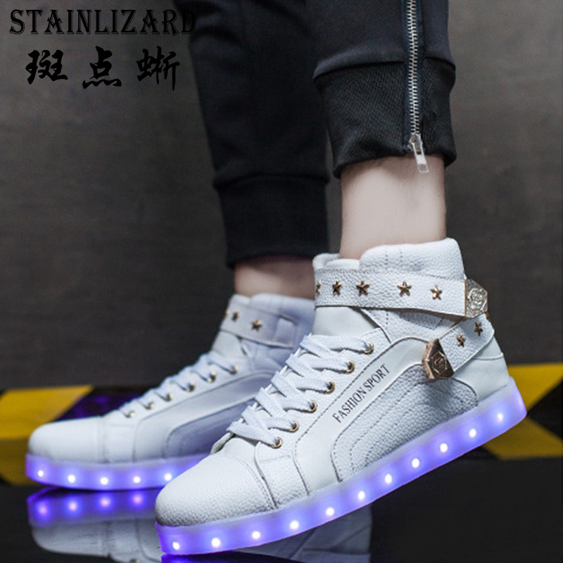 Women Shoes 2017 new Fashion camouflage LED Light shoes USB charge colorful lights high to help couples Casual board Shoes ST600 new fashion women led shoes camouflage pattern usb charging light up shoes breathable glow in the dark shoes blue gray