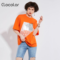 Clocolor Women Summer Causal T Shirts Loose Fashion Plus Size Tops High Quality Short Sleeve Plain