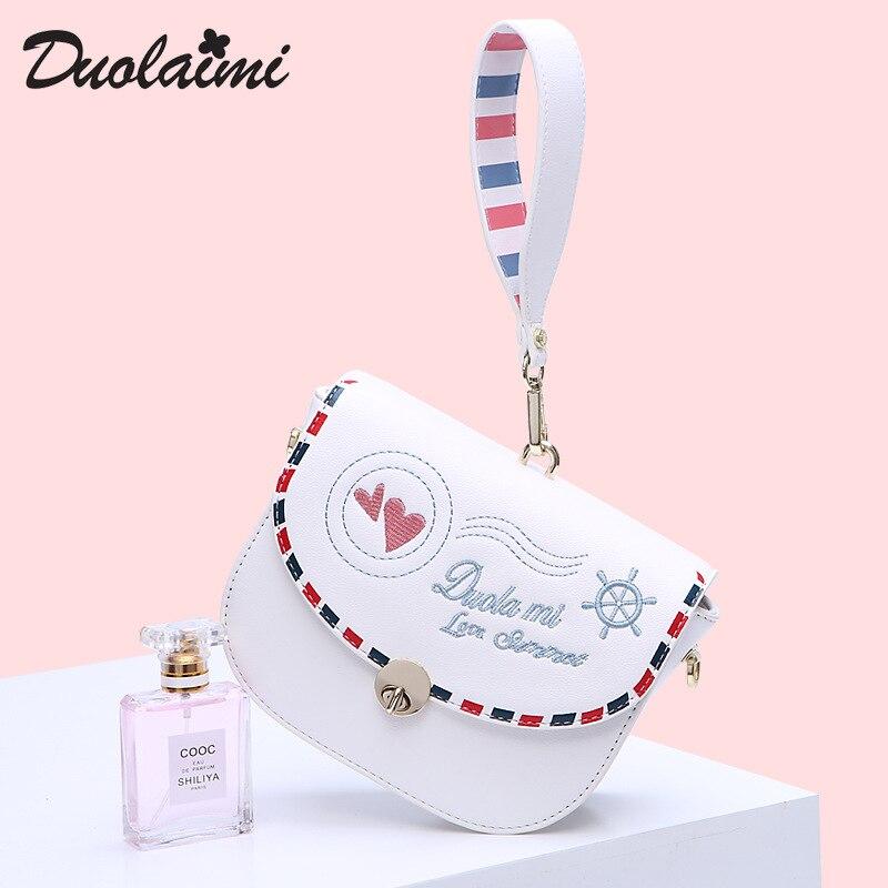 Duolaimi Women Embroidery White Bag Hobos Letter Cover Small Chain Leather Hand Bag Summer Soft Ladies Single Messenger Handbag