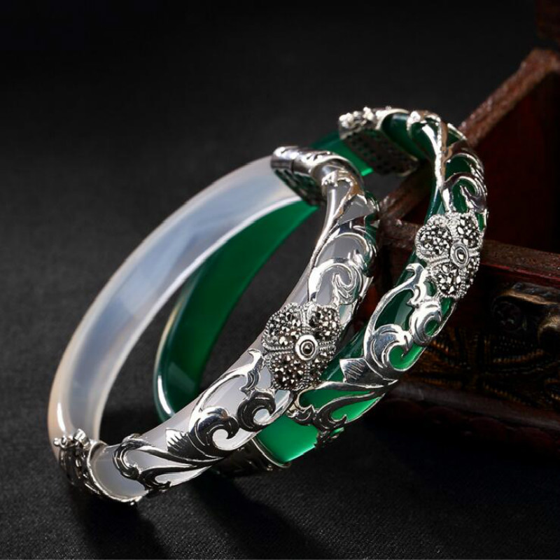 Pure 925 Silver Bangle Green White Opal Marcasite 100% S925 Sterling Silver Diameter 5.9cm Bangles for Women JewelryPure 925 Silver Bangle Green White Opal Marcasite 100% S925 Sterling Silver Diameter 5.9cm Bangles for Women Jewelry