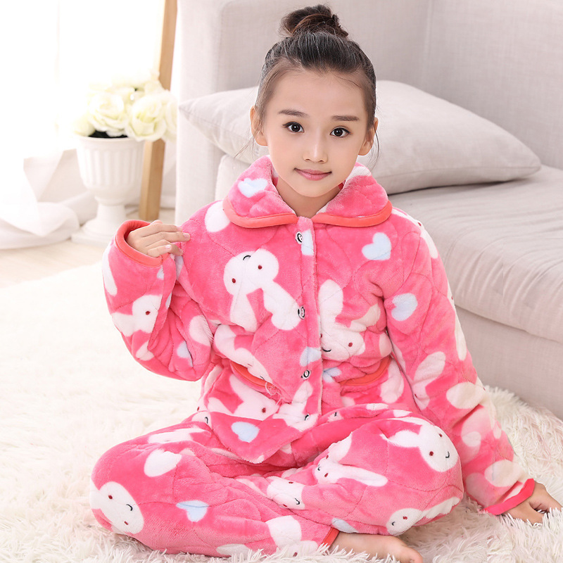 Warm Fleece Pijamas for Girls Indoor Cloth Boys Pajamas Thicken Girls Winter Pajamas Cotton Wadded Home Wear Kids Winter Pyjamas