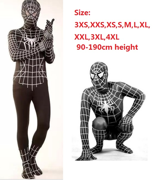 black spiderman cosplay Amazing Fantasia tights spandex suit spider man halloween costume black full bodysuit Infantil fancy