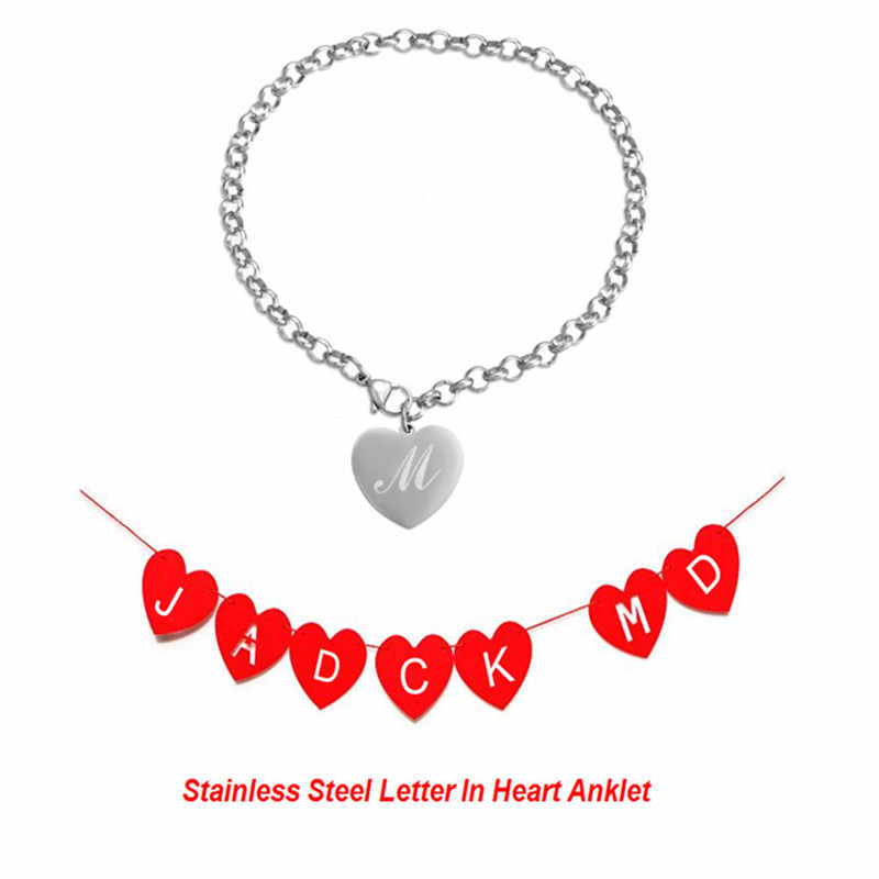 13 style Boho Bracelet For Leg Stainless Steel Heart Anklets for Women Letter Ankle Bracelet Vintage Foot Jewelry enkelbandje