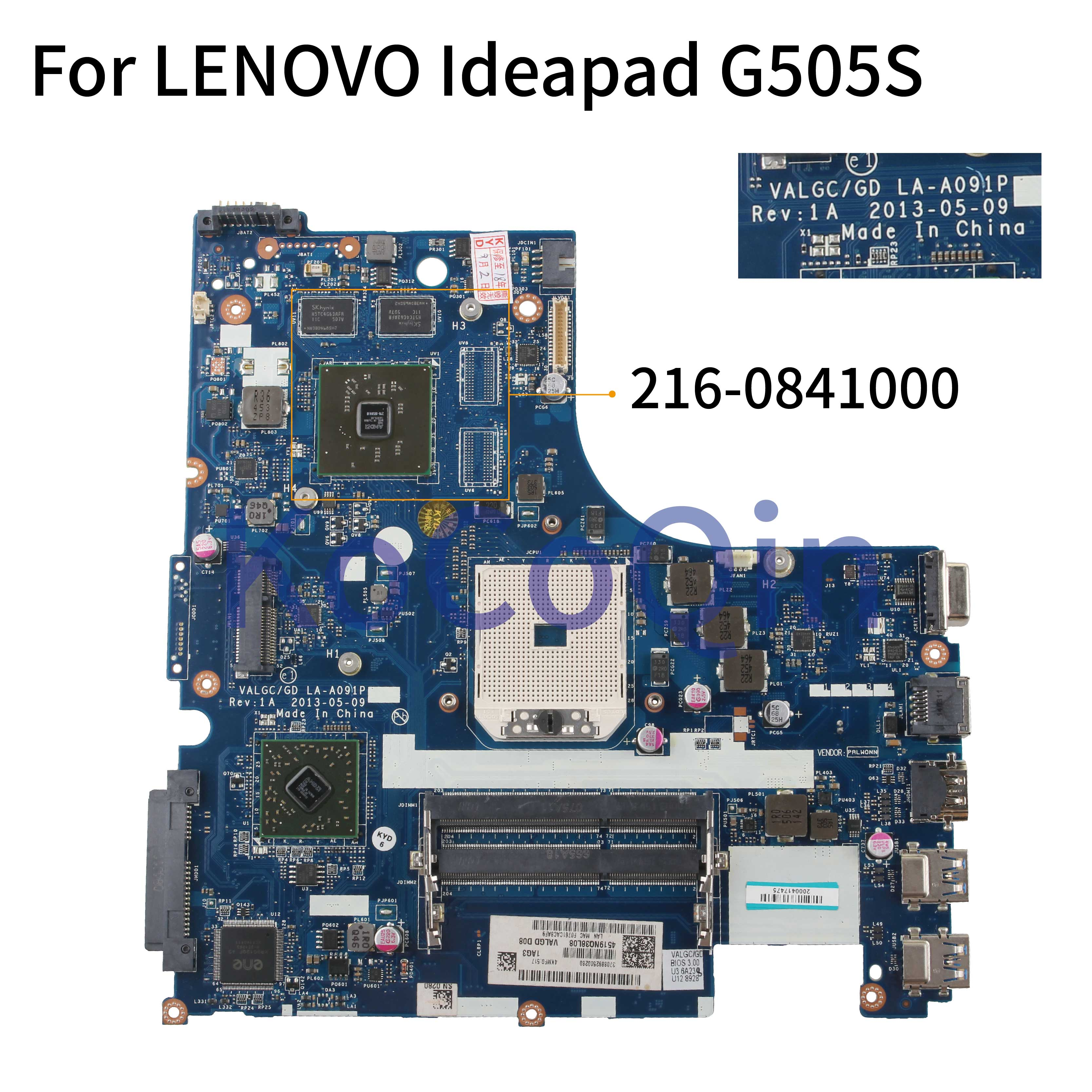 KoCoQin Laptop Motherboard For LENOVO Ideapad G505S Mainboard VALGC/GD LA-A091P AMD 216-0841000 2G