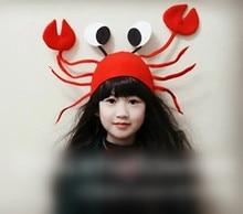 Kreative neue interessante lustige fühlte rote krabbe mädchen halloween hut kinder weihnachten hüte für geburtstagsfeier