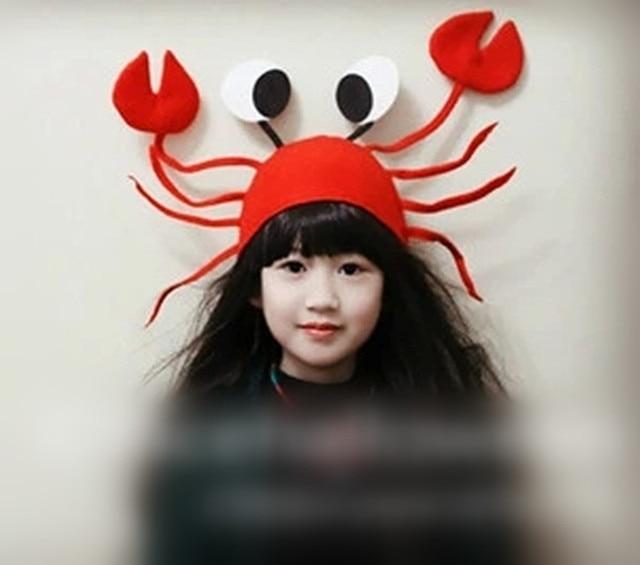 creative new interesting funny felt red crab girl halloween hat children kids christmas hats for birthday