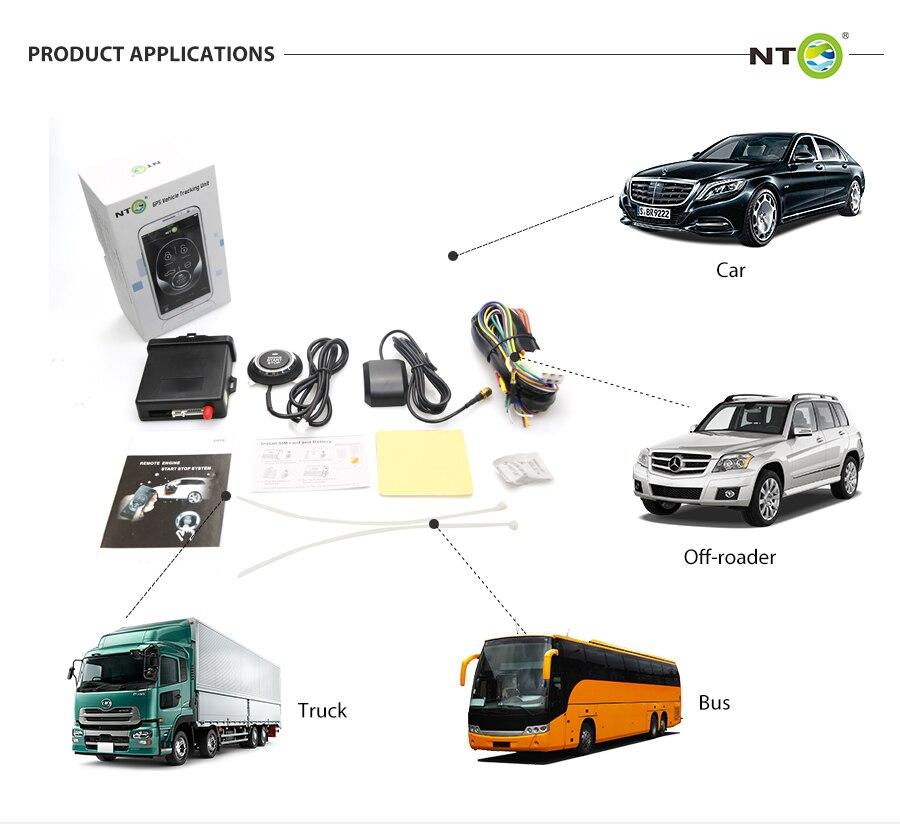 Système universel d'arrêt de démarrage du moteur et traqueur de suivi gps du véhicule fonctionnant avec la télécommande et la sirène d'origine