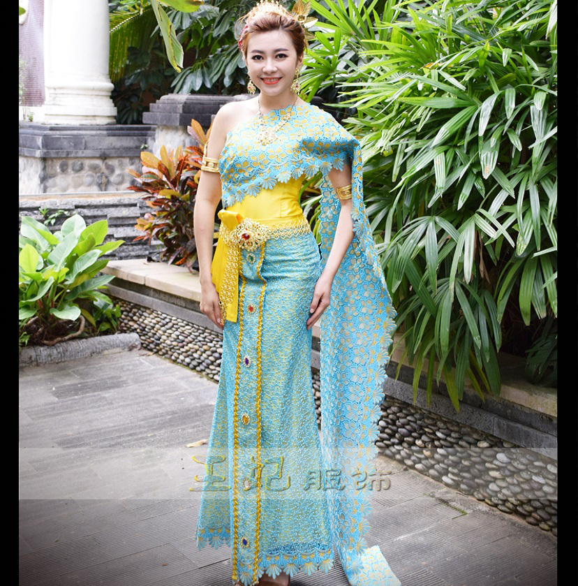 Dai Princess Clothing Blue Thailand Costumes Thai Fashion Show Photo Gallery Wear Annual Meeting Host Outfit Hotel Use Uniform