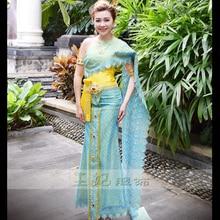 d694847d1d Dai princess Clothing blue Thailand costumes Thai fashion show photo  gallery Wear annual meeting Host Outfit