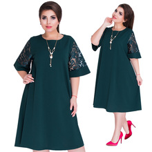 6XL Plus Size Vestidos festa Summer Autumn Dresses Women Red Green Loose Midi Dress Party Stitching Lace Sleeve Dress Big Sizes цена