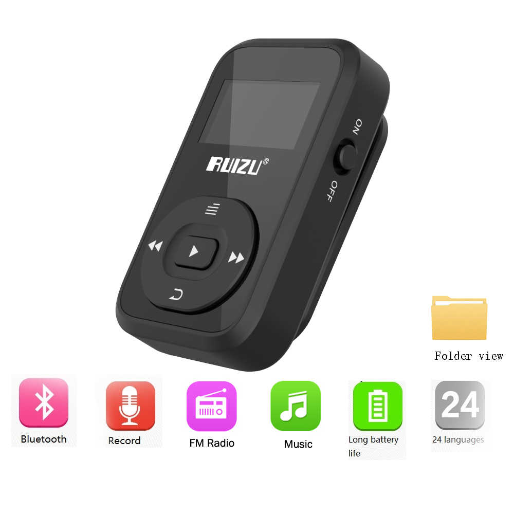Nuovo Arrivo Originale RUIZU X26 Sport Bluetooth MP3 Lettore 8gb Della Clip Mini con il Supporto Dello Schermo FM, Registrazione, e-book, Orologio, Pedometro