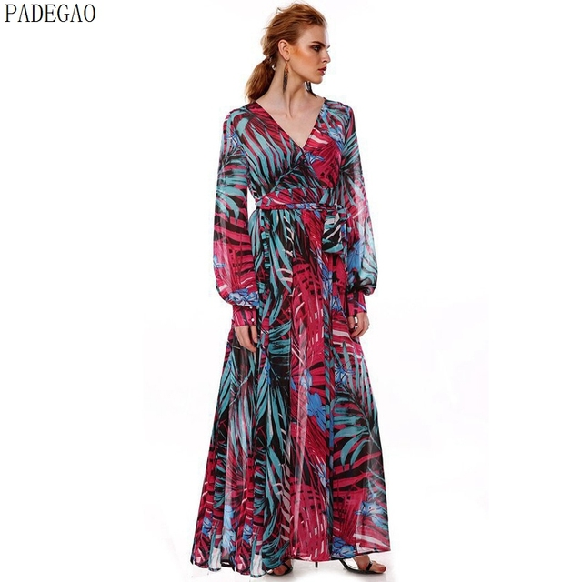 3ad1c459dd1 PADEGAO v neck long sleeves maxi dress blue printing plus size chiffon a  line casual party 2017 purple prom long bohemian dress