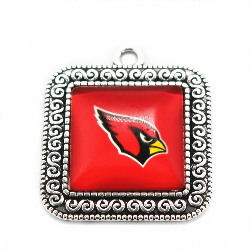 New arrival 10pcs/lot football Sports Arizona Cardinals Team Square Dangle Charms Glass Pendant Fit Necklace Jewelry