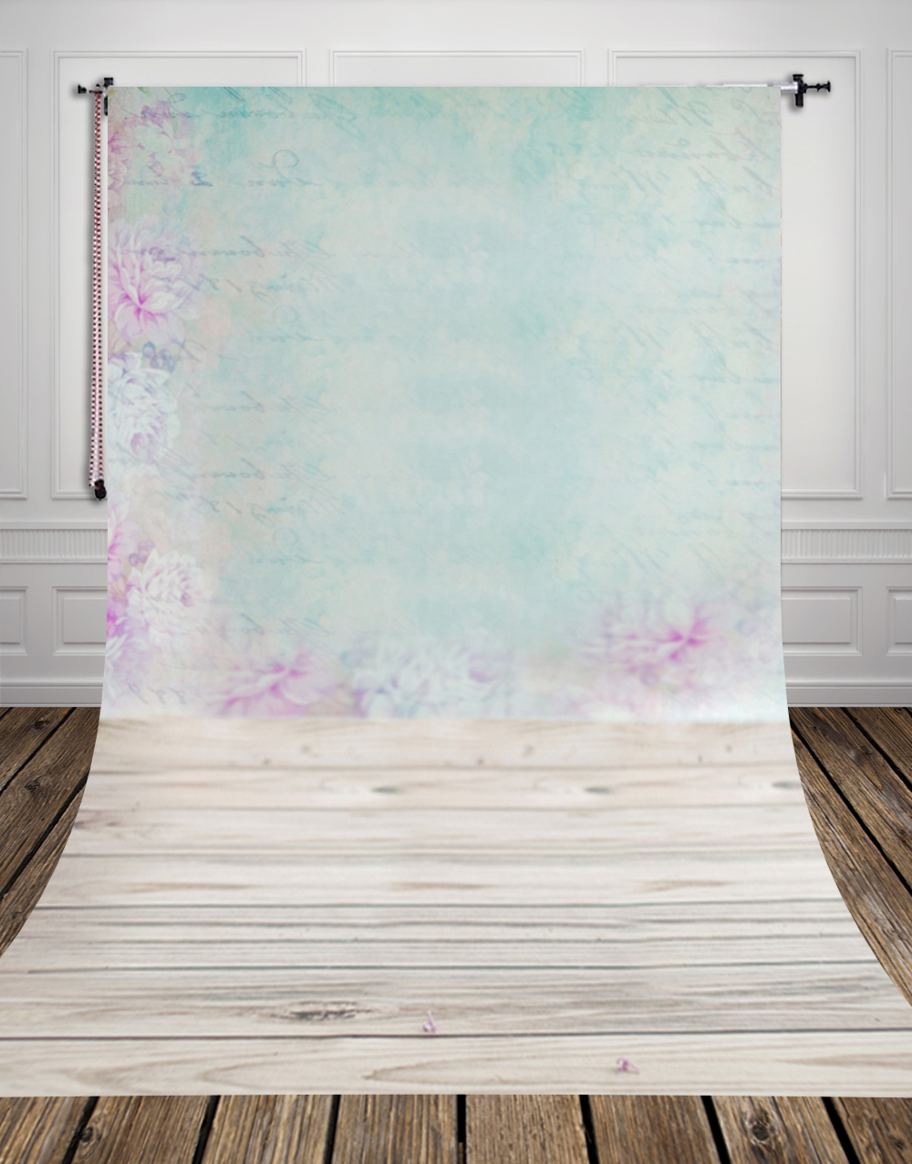Pastel wallpaper and light wood floor printed photo studio for Hardwood floors and babies