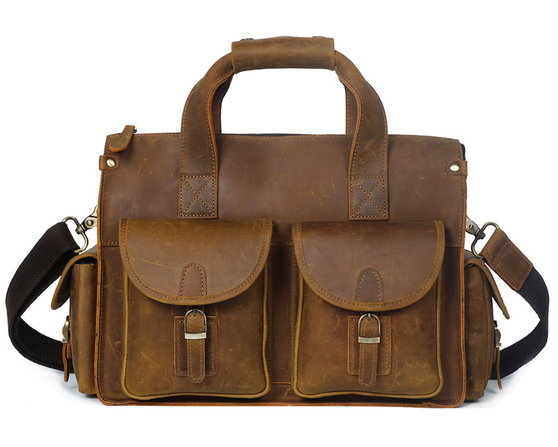 Nesitu High Quality Vintage Brown Thick Durable Genuine Leather Men Messenger Bags Men Portfolios 14 Laptop Briefcase #M8045Nesitu High Quality Vintage Brown Thick Durable Genuine Leather Men Messenger Bags Men Portfolios 14 Laptop Briefcase #M8045